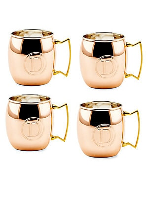 16 Oz. Solid Copper Moscow Mule Mugs, Monogram D, Set of 4