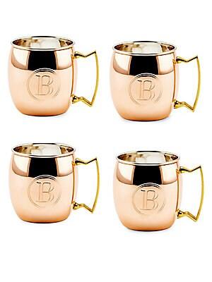 16 Oz. Solid Copper Moscow Mule Mugs, Monogram B, Set of 4