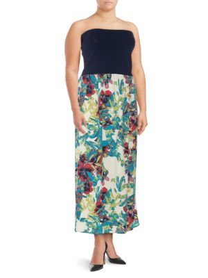 Rachel Roy Plus Floral-Print Strapless Dress