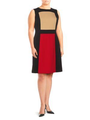 Calvin Klein Plus  Colorblock Fit-&-Flare Dress