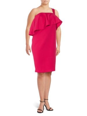 Calvin Klein Plus  Plus One-Shoulder Ruffle Shift Dress