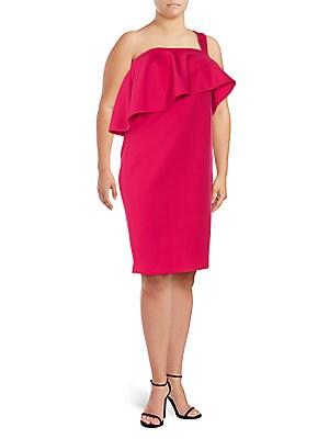 One-Shoulder Ruffle Shift Dress