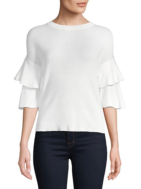 CLICH | Two-Tiered Ruffle-Sleeve Sweater | Goxip
