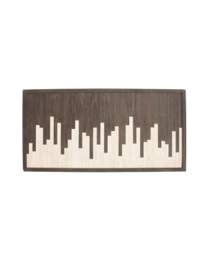 UMA Abstract Contemporary Wooden Skyline Wall Art in Black