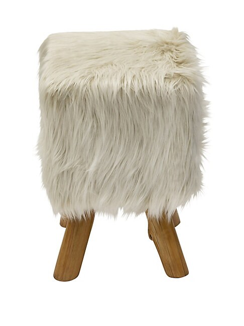 Faux Fur Farmhouse Accent Stool