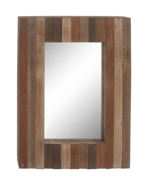UMA Rectangle Mirrors Rustic Slat-Style Wooden Framed Wall Mirror in Brown