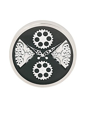 LARGE CLOCKS GEARED POLISHED STAINLESS STEEL ROUND WALL CLOCK