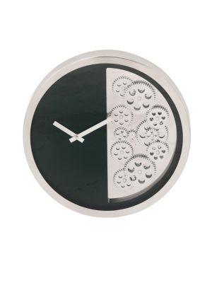 UMA Large Clocks Stainless Steel Gear Wall Clock in Steel Black