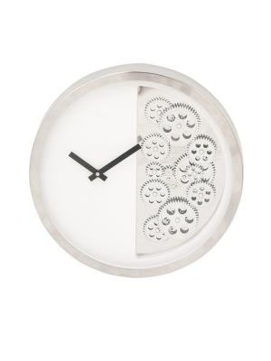 Uma CONTEMPORARY GEARED STAINLESS STEEL WALL CLOCK