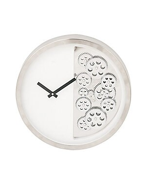 CONTEMPORARY GEARED STAINLESS STEEL WALL CLOCK