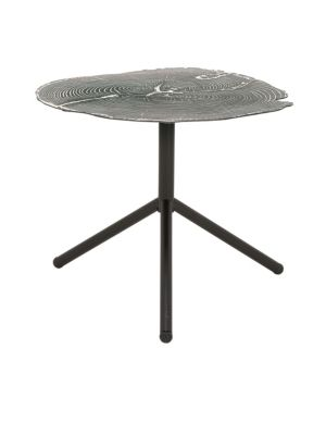 UMA Accent Tables Contemporary Tree Ring Iron Tripod in Black