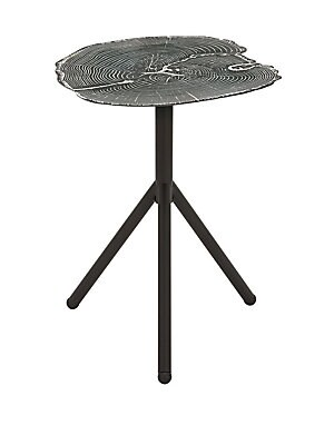 ACCENT TABLES CONTEMPORARY IRON TRIPOD AND TREE RING TABLE