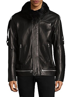 Faux Shearling Leather Jacket