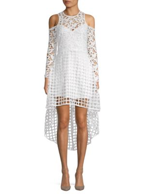 ALEXIA ADMOR Cold-Shoulder High-Low Lace Dress in White