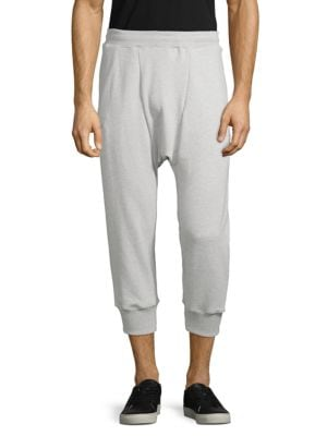 DRIFTER Cropped Cotton Jogger Pants in Heather Grey