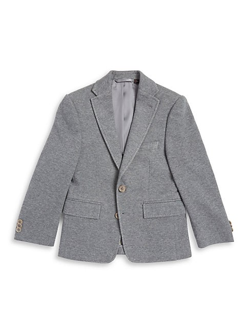 Boy's Notched-Collar 2-Button Pick-Stitched Blazer