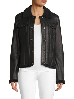 Ag Jackets EDIE NATURAL SHEARLING & LEATHER JACKET