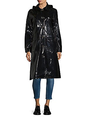 Long-Sleeve Glossy Rain Coat