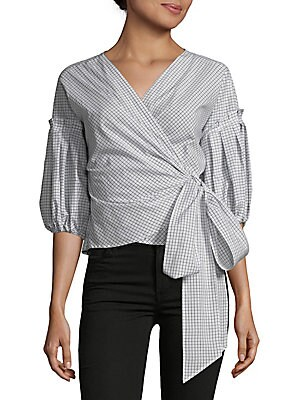 Grid Check Balloon Sleeve Wrap Blouse