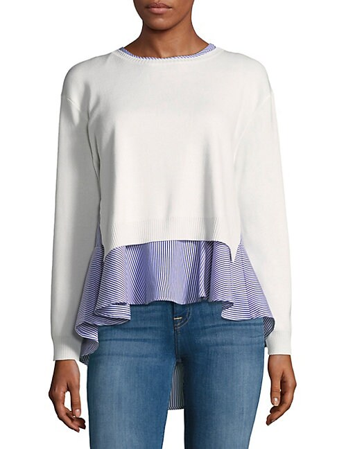 2-in-1 Stripe Peplum Top and Cropped Sweater
