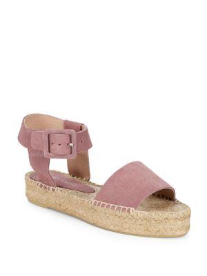 Leather Ankle-Strap Platform Espadrilles in Lilac