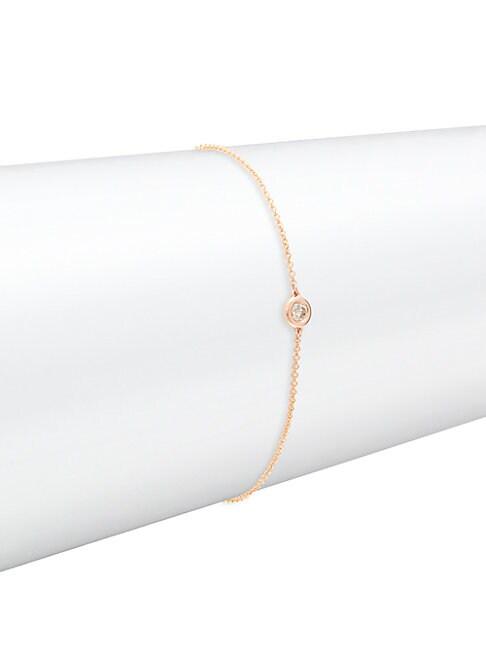 Saks Fifth Avenue 14K ROSE GOLD & DIAMOND CHAIN BRACELET
