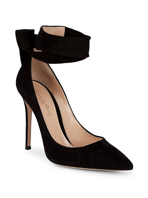 Suede Ankle Wrap Pumps