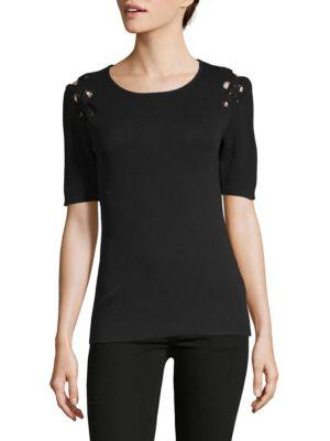 ZERO DEGREES CELSIUS Lace Grommet Top in Black