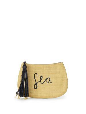 MAR Y SOL Embroidered Raffia Clutch in Sea Natural