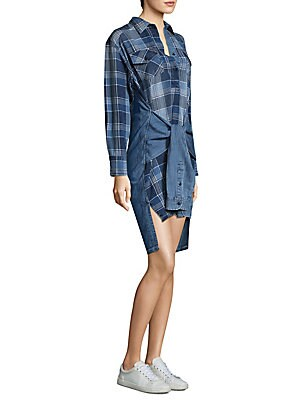 Hi-Lo Plaid Cotton Shirtdress