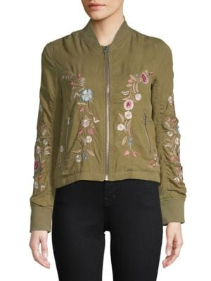 DRIFTWOOD Zoe Floral-Embroidered Bomber Jacket in Olive