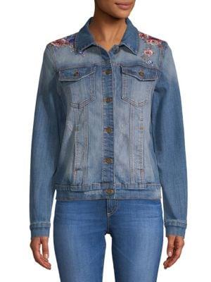 DRIFTWOOD Geena Embroidered Denim Jacket in Medium Wash