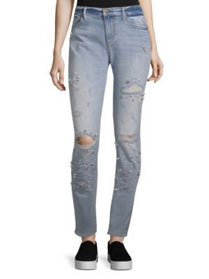 DRIFTWOOD Beau Boyfriend Embellished And Distressed Jeans in Light Wash