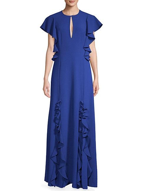Key-Neck Ruffle Gown
