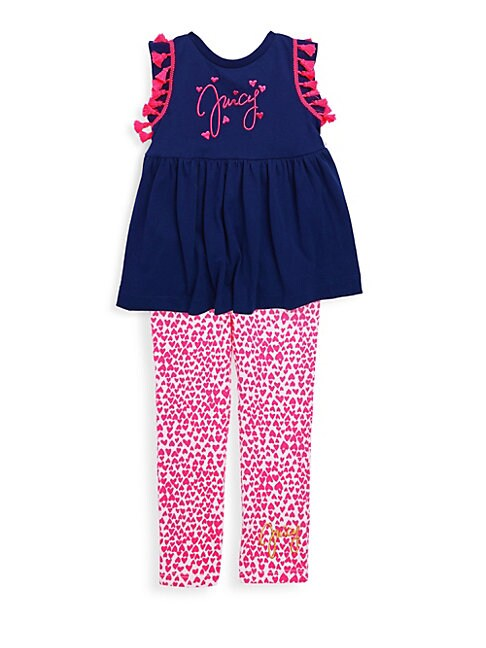 Little Girl's Tassle Trim Top & Heart Leggings Set