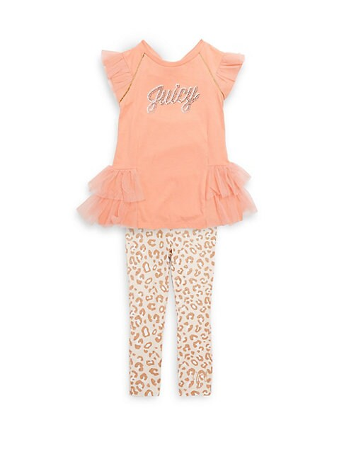 LITTLE GIRL'S TWO-PIECE LEOPARD TOP AND LEGGINGS SET