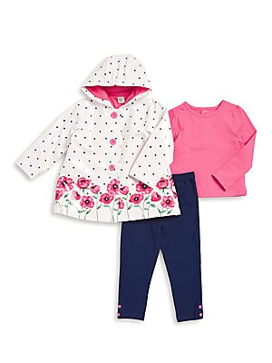 Baby's Three-Piece Floral Jacket, Cotton Top and Pull-On Leggings Set