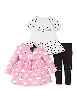 Little Me - Baby Girl's Three-Piece Cat Face Short-Sleeve Dress, Printed Long-Sleeve Dress and Leggings Set