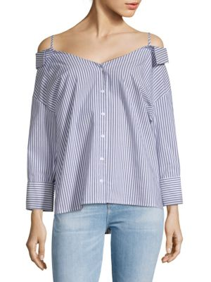 COLLECTIVE CONCEPTS Off-Shoulder Stripe Shirt in Blue-White