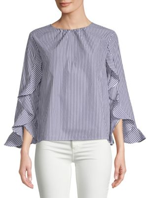 COLLECTIVE CONCEPTS Ruffle Sleeve Top in Blue White