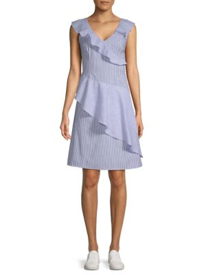 COLLECTIVE CONCEPTS Striped Asymmetrical Ruffle Dress in Blue White