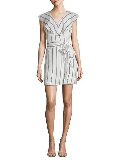 COLLECTIVE CONCEPTS | Flutter Sleeve Striped V-Neck Dress | Goxip