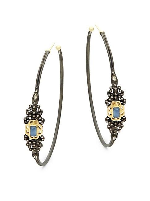 Champagne Diamond & Gemstone Hoop Earrings