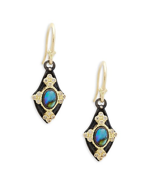 ARMENTA | Champagne Diamond & Gemstone Kite Earrings | Goxip