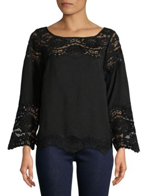 PLENTY BY TRACY REESE Lace Bell Sleeve Top in Black