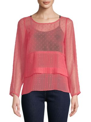 PLENTY BY TRACY REESE Pleated See-Through Top in Coral