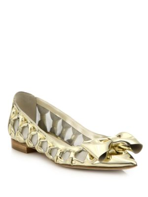 Oscar De La Renta  Trina Metallic Leather Bow & Mesh Flats