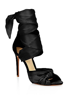 Katherine Silk Ankle-Wrap Sandals
