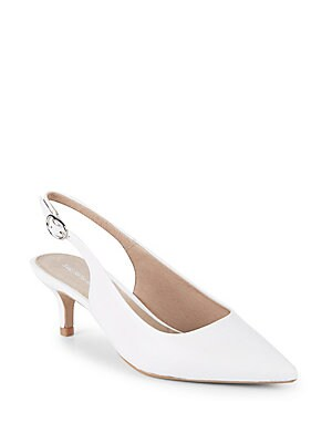 Kitten Heel Leather Slingback Pumps
