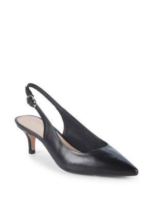 Kitten Heel Leather Slingback Pumps in Black